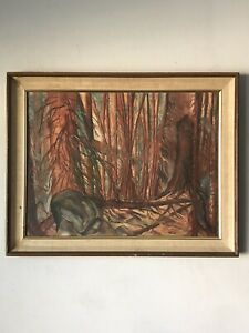 MID CENTURY MODERN ABSTRACT LANDSCAPE OIL PAINTING SIGNED- VINTAGE PLEIN AIR 50s