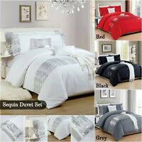 White Red Black Grey Duvet / Quilt Cover Set With Pillowcases Double King Size