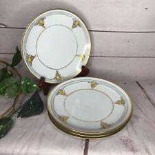 Vintage Thomas Bavaria Salad Plates 1930's Lot of 4 Floral w/Gold