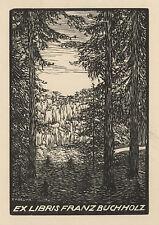 Frantisek Kobliha Exlibris  Buchholz Czech Jugendstil Wood Engraving c1920