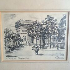Mid Century Pencil & Ink Drawing - Street Scene of Paris from 1950s or 60s