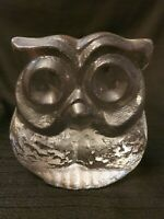 Vintage Skruf Sweden Clear Art Glass Owl Lars Hellsten Bookend Paperweight