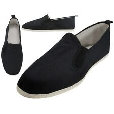 Easy Usa Canvas Slip-On Kung Fu Shoes-Cotton Soles-Black-New-Mult. Sizes