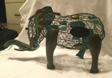 """Oak and Olive - Elephant Cork Caddy Turquoise & Brown 14"""" x 8.5"""" Delightful"""
