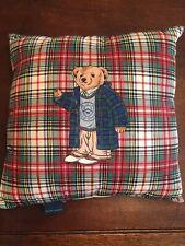 Ralph Lauren Polo Bear Throw Pillow 18x18 Square Plaid Red
