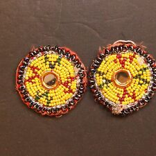 Matched PAIR BellyDance GUL Kuchi Tribal BEADED Medallions (XS) 838y1
