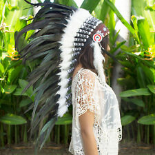 Long Feather Headdress- Native American Indian Style -ADJUSTABLE- Black Rooster