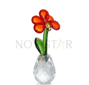 NOYISTAR K9 Crystal Red Butterfly Orchid Flower Figurine Collectible Gift