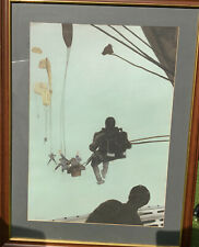 More details for f/g brian lewis original pastel drawing 'sas parachuting from a hercules'