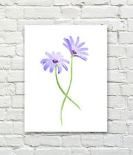 Purple Daisies Watercolor Painting Art Print