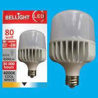 1x 80W (=400W) T140 LED Light Bulb 4000K Cool White Edison Screw ES E27/GES E40
