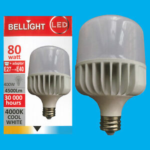 4x 80W (=400W) T140 LED Light Bulb 4000K Cool White Edison Screw ES E27/GES E40