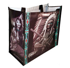 DGA Day of the Dead Art Shopping Tote Bag Reusable Wolf Original Native American