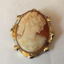 VINTAGE GRANDE 9ct 9k Oro Intagliati SHELL CAMEO LADY BELLA CORNICE da intaglio Deco