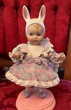 """Marie Osmond Bunny Love Porcelain Tiny Tot Doll 6.5"""" Tall w stand"""
