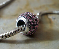 Pave Bead Element Kugel Rosa Strass Farbe Silber - plattiert für Armband 0002