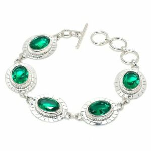 "Tsavorite Garnet Gemstone Handmade 925 Sterling Silver Jewelry Bracelet Sz 7-8"""