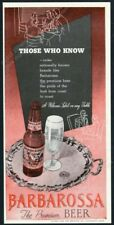 1947 Barbarossa Beer Cincinnati bottle glass art Those Who Know vintage print ad