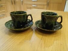 Fosters Pottery Cornwall green honeycomb cups & saucers X2
