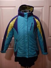Champion Ski Jacket Women's XL 14-16 Two Tone Blue w/ Yellow Green Zip Out Liner