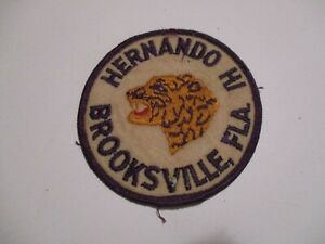 "1960 HERNANDO HI 3.25"" Leopard Cloth Patch Purple Gold Brooksville Florida 500Z"