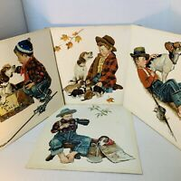 4 Vintage Paint By Number Norman Rockwell The Four Seasons 16x16 Boy Dog Framed