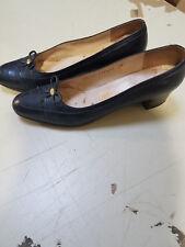 Vintage Salvatore Ferragamo Dark Navy Leather Womens  Pumps Sz 7.5 (71/2) AAAA