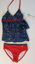 Jantzen 8 Girl's 2 Pc  Bikini Tankini Set Swimsuit Navy Blue Red Anchor Ruffle