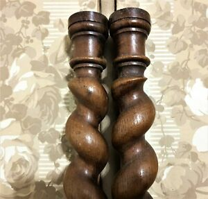 Pair solid spiral turned barley twist column Antique french oak salvaged spindle