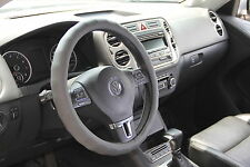Solid Grey Easy Slip-On PVC Leather Steering Wheel Cover Best Comfort New