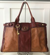 FOSSIL Vintage Reissue Weekender Two Toned Cognac Leather Satchel Overnight Tote
