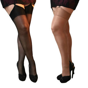 Essexee Legs Plus Size Glossy Stockings. Black, Tan 88% Nylon 12% Elastane