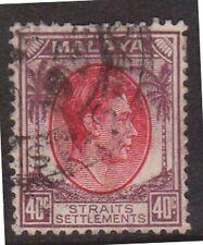 (K109-130) 1937 Malaya 40c red and brown KGVI (EQ)