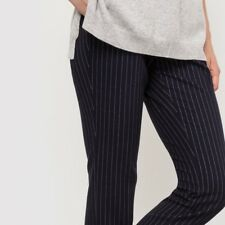 La Redoute Collections Striped Cigarette Trousers Black Size UK 12 DH170 EE 01