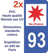 Sticker Autocollant immatriculation Département 93 Seine St Denis Ile de France