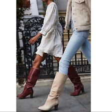 MWB$286 Free People Tennison Tall Boots Ruched Chunky Heel Beige Leather 41