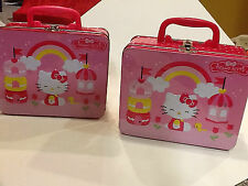 2  MATCHING HELLO KITTY METAL LUNCH BOXES