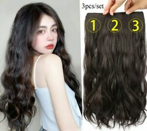 3pcs/set clip in extensions heat-resist matte synthetic realistic as human hair