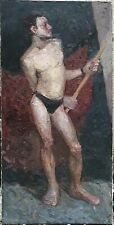 Superb Giant Original Oil On Canvas, Male Nude , Man, Boy, Model, Hand Made