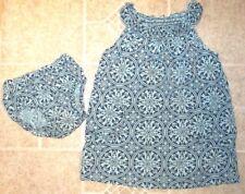 Little Girl's Size 2 Tea Collection Blue Mandala Smocked Dress w/ Bloomers Set