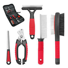 Pet Dog Grooming Kit Comb+Nail Clipper+Scissor+Slicker+Bristle Brush Set Tool