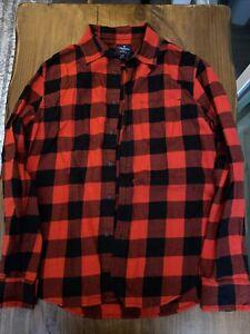 american eagle long sleeve plaid flannel button up red shirt medium lumberjack