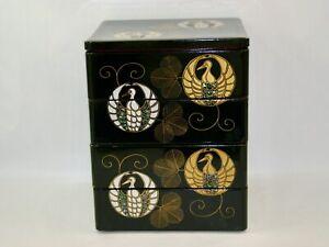 Antique Wajima Wooden urushi Gold & silver maki-e Raden crane designed jubako 4-