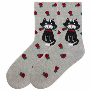 K.Bell Xlarge Extended Size 10-12 Ladies Crew Gray Cat Rose Cotton Socks New