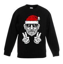 Cool Hipster Santa Hat Christmas Childrens Kids Sweatshirt Jumper