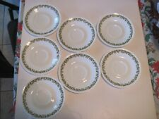 7 Green Crazy Daisy Corelle by Corning Coffee Cup Saucers 6.25 Inches