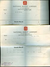 (2)1908 Invoices NATIONAL BISCUIT COMPANY Uneeda Biscuit Providence RI