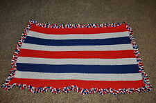 """42"""" x 58""""  RED WHITE BLUE ALL AMERICAN  stripe AFGHAN  CHIC DORM READY USA made"""
