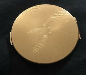 Vintage Stratton England Gold tone compact makeup mirror powder puff Looks New