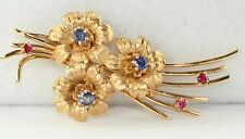 1950'S VINTAGE 14K GOLD SAPPHIRE RUBY SPRAY FLOWERS PIN 1/2 CARAT 10.1 GRAMS